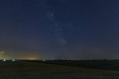 Photograph - A Lone Perseid Meteor by Josef Pittner