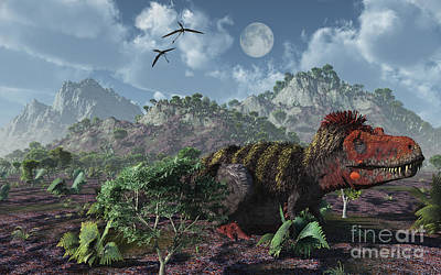 Tarbosaurus Digital Art - A Lone Tarbosaurus Lying On The Ground by Mark Stevenson