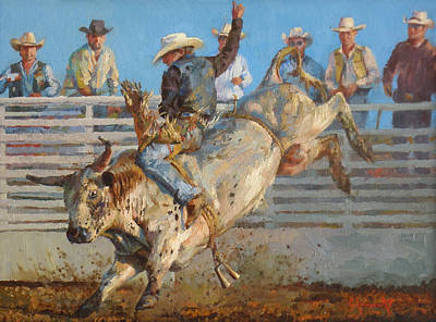 Western Riding Painting - A Long 8 Seconds by Jim Clements