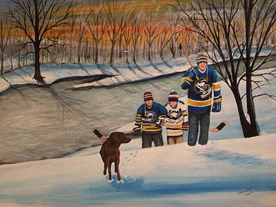 Pond Hockey Painting - A Long Day by Ron  Genest