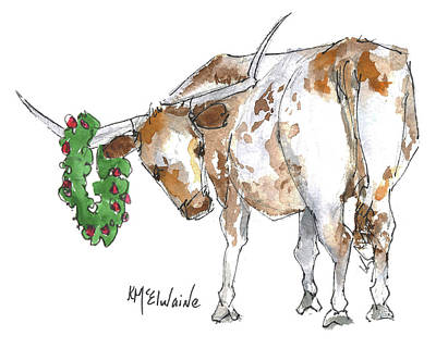 Painting - A Longhorn Christmas Leader, Come On In by Kathleen McElwaine