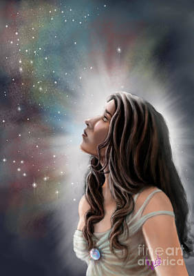 Art Print featuring the painting A Longing For The Stars by Amyla Silverflame