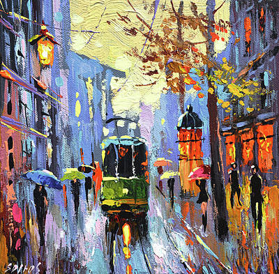 Painting - A Lonley Tram  by Dmitry Spiros