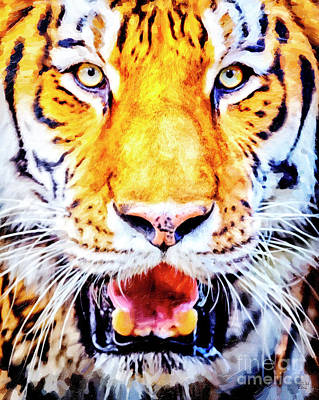 Painting - A Look Into The Tiger's Eyes Large Canvas Art, Canvas Print, Large Art, Large Wall Decor, Home Decor by David Millenheft