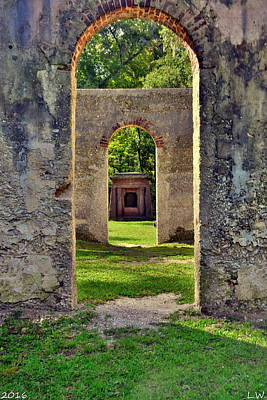 A Look Through Chapel Of Ease St. Helena Island Beaufort Sc Art Print