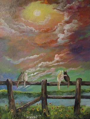 Under The Moon Wall Art - Painting - A Springtime Lovers Moon by Dave Farrow
