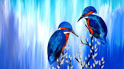 Kingfisher Painting - A Loving Couple by Cathy Jacobs