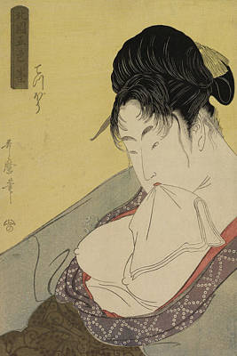 Nipple Drawing - A Low Class Prostitute by Kitagawa Utamaro
