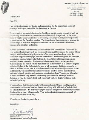 Painting - Ireland Canada Links..a Letter From The Irish Ambasador by Val Byrne
