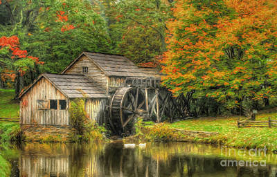A Mabry Mill Autumn Print by Darren Fisher