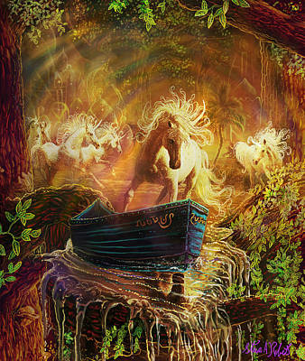 Fantasy Tree Art Painting - A Magical Boat Ride by Steve Roberts