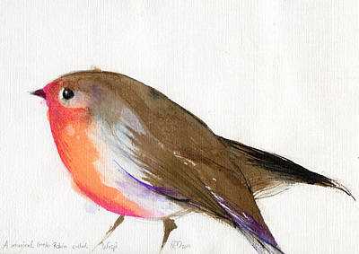 Robin Painting - A Magical Little Robin Called Wisp by Nancy Moniz