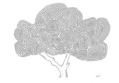 Simplicity Drawing - A Magnolia Tree by Nerea Gutierrez