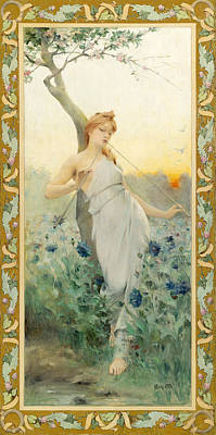 Painting - A Maiden Among The Flowers by Jean Alfred Marioton