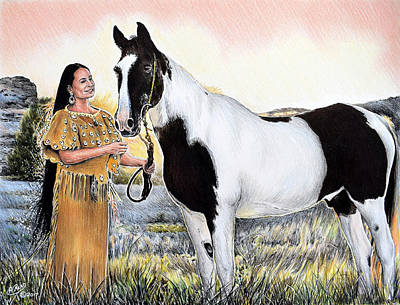 Animals Drawings - A Maiden and Spot A Special Bond by Andrew Read