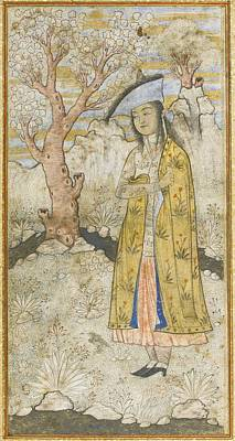 Safavid Painting - A Maiden In A Gold Cloak by Muhammad Qasim