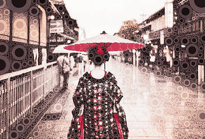 Mixed Media - A Maiko In Gion by Susan Maxwell Schmidt