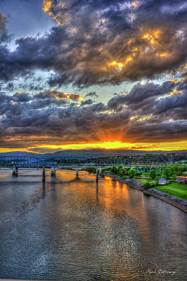 Photograph - A Majestic View 2 Chattanooga Bridges Sunset Art by Reid Callaway