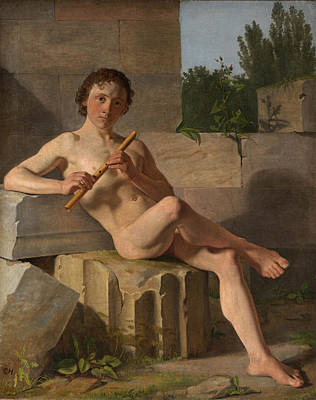 Painting - A Male Model Playing Flute by Constantin Hansen