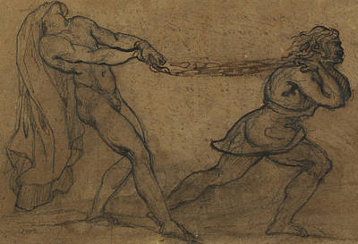 Pull Drawing - A Male Nude Pulled By Another Male by Theodore Gericault