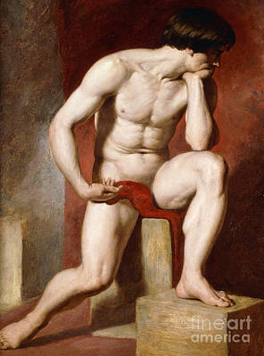 Physique Painting - A Male Nude, Seated Full Length by William Etty