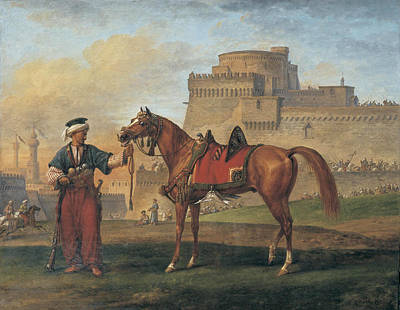 Man And His Horse Painting - A Mameluk Leading His Horse With A Citadel In The Background by Carle Vernet