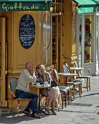 Photograph - A Man A Woman A French Cafe by Allen Sheffield