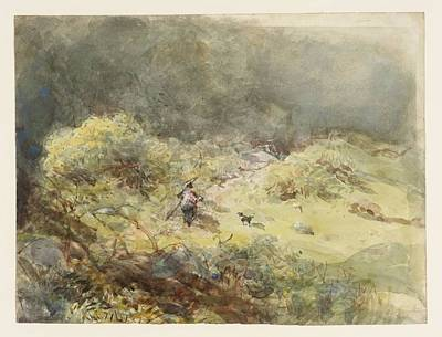 Clearing Painting - A Man And A Dog In A Sunlit by MotionAge Designs