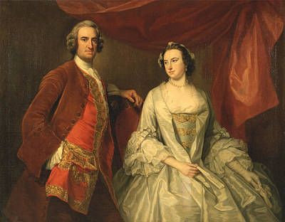 Painting - A Man And A Woman. Possibly Of The Missing Family Of Little Park House. Wickham. Hampshire  by George Knapton