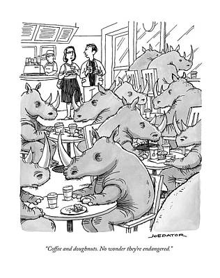 Rhinoceros Drawing - A Man And A Woman Stand In A Coffee Shop Which by Joe Dator