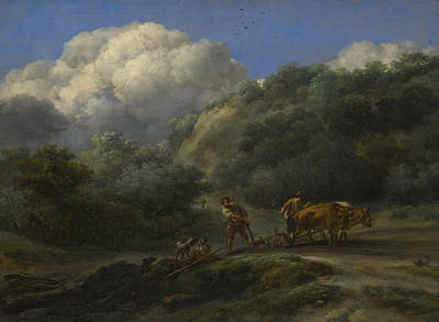 A Man And A Youth Ploughing With Oxen Art Print
