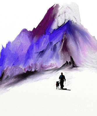 A Man And His Dog Art Print by Jo Baby