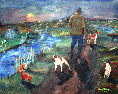 Gail Daley Wall Art - Painting - A Man And His Dogs by Gail Daley