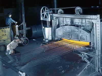 A Man Checks Temperatures Of Steel Rods Art Print by Willard R. Culver