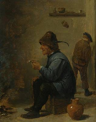 Another Painting - A Man Holding A Pipe Sitting Before A Fire In Tavern by David Teniers