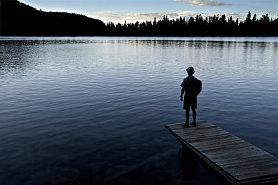 Observer Photograph - A Man Looking Across A Lake. Into by Dawn Kish