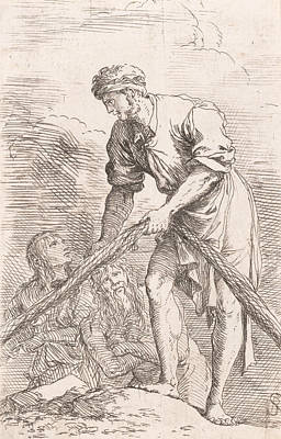 Relief - A Man Pulling A Net With Two Figures Behind Him by Salvator Rosa