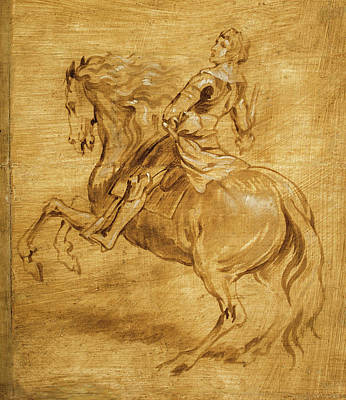 A Man Riding A Horse Art Print