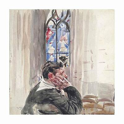 A Man Seated In A Church Art Print by Giovanni Boldini