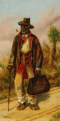 Negro Painting - A Man Walking by William Walker