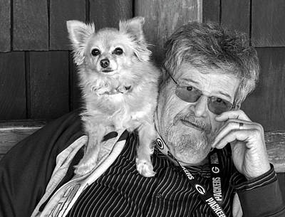 Photograph - A Man With A Dog On His Shoulder by Alex Galkin
