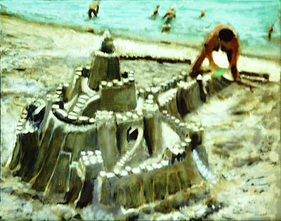 Castles In The Sand Painting - A Mans Home Is His Castle by David Zimmerman