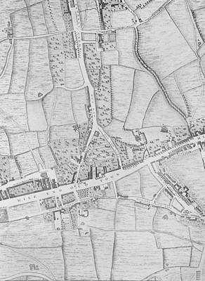 Old Street Drawing - A Map Of Mile End by John Rocque