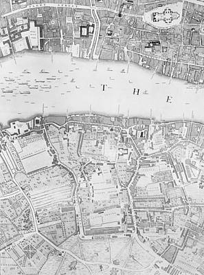 1746 Drawing - A Map Of St Pauls And Bankside by John Rocque
