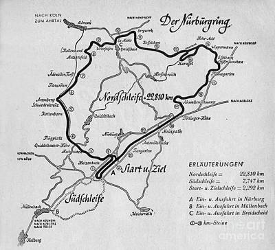 Car Drawing - A Map Of The Nurburgring Circuit by German School