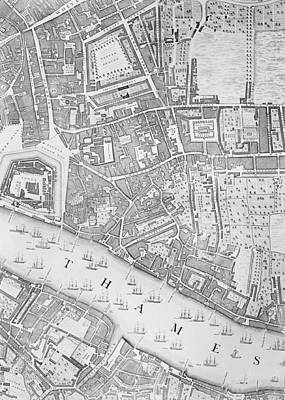 Old Street Drawing - A Map Of The Tower Of London by John Rocque