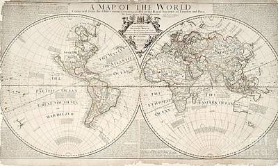 Maps Painting - A Map Of The World by John Senex
