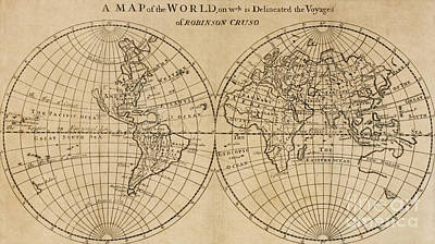 Drawing - A Map Of The World With The Voyage Of Robinson Crusoe by English School