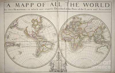 Photograph - A Mapp Of All The World In Two Hemispheres 1680 Map by Rick Bures