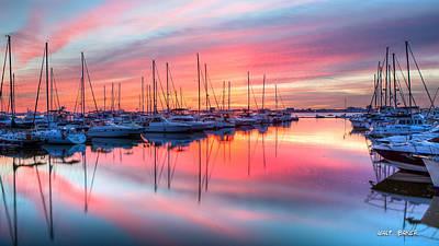 Photograph - A Marina Sunset by Walt Baker